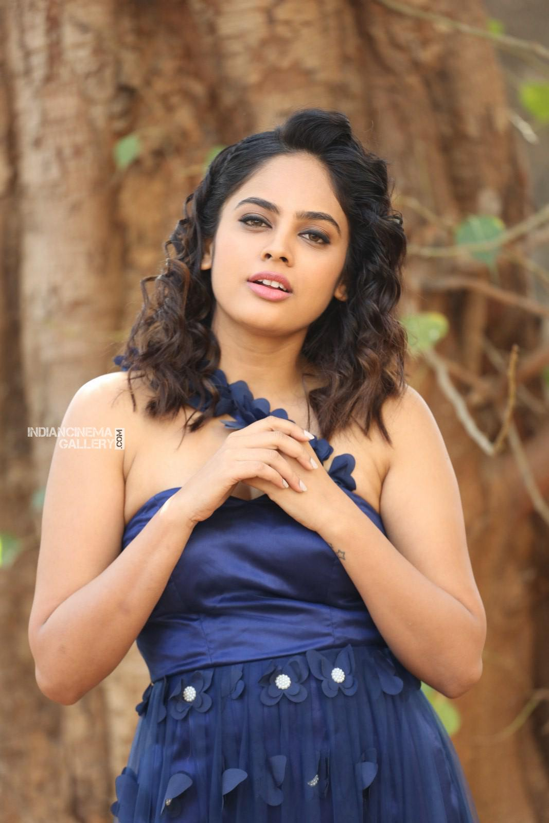 Nanditha swetha in blue dress stills (18)