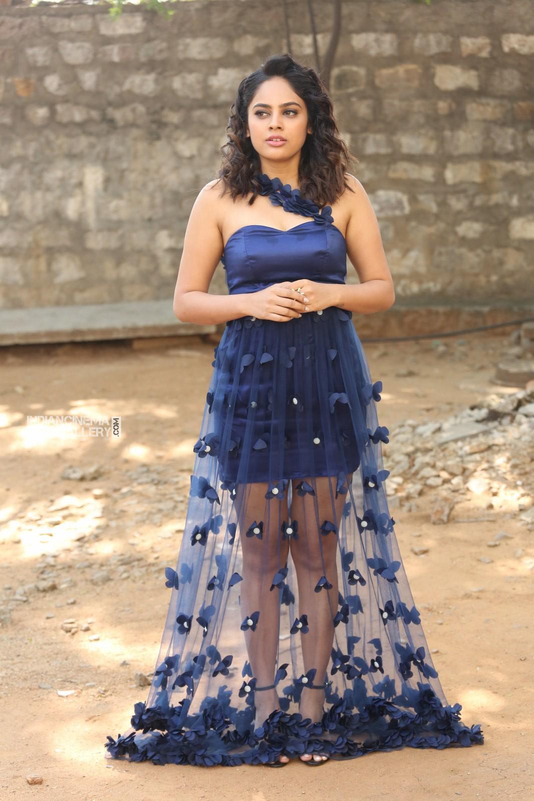 Nanditha swetha in blue dress stills (21)